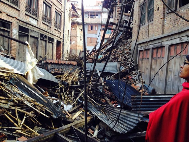 Lasta's home after the 7.8 Ms earthquake on April 25, 2015.